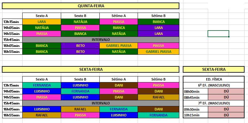 Horários provisórios 5º e 6º ano do E.F- semana do dia 27 à 31/01 2