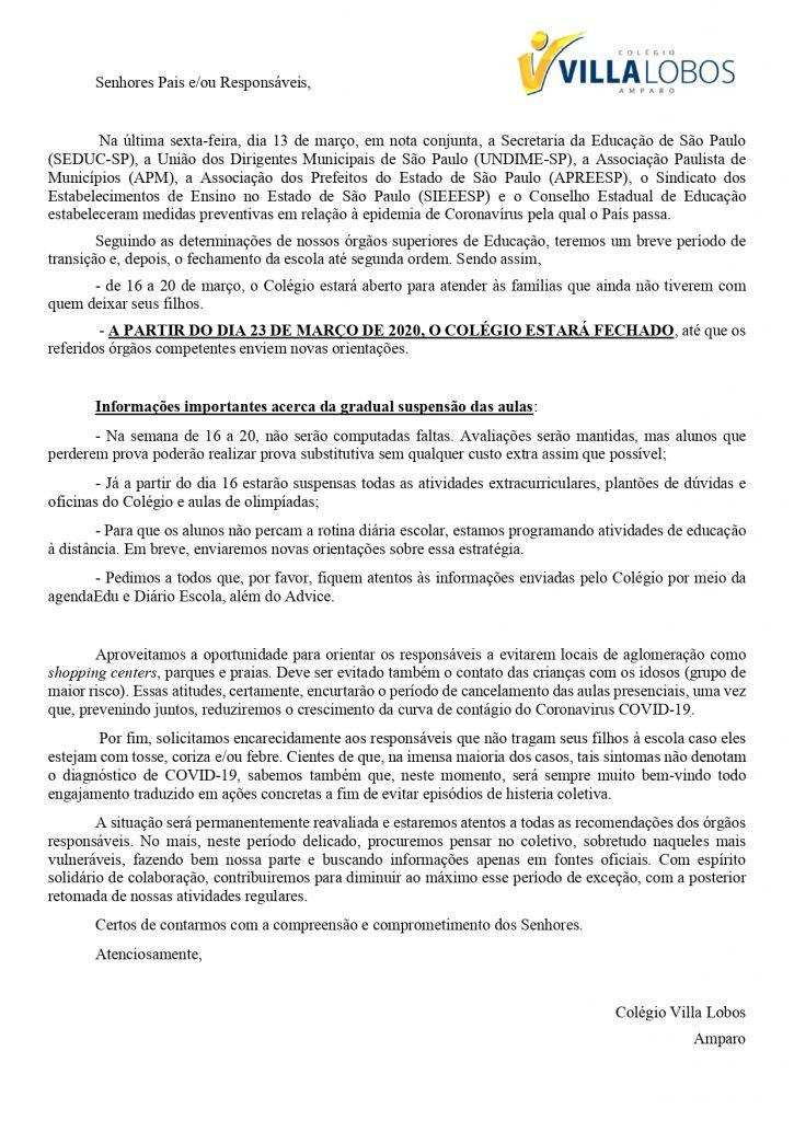 Comunicado - Coronavírus - COVID19 - Unidade Amparo 3