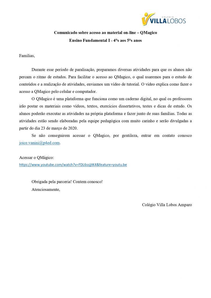 COMUNICADO AMPARO – Acesso ao Material Online – 4ºs e 5ºs Anos – Fundamental I 1