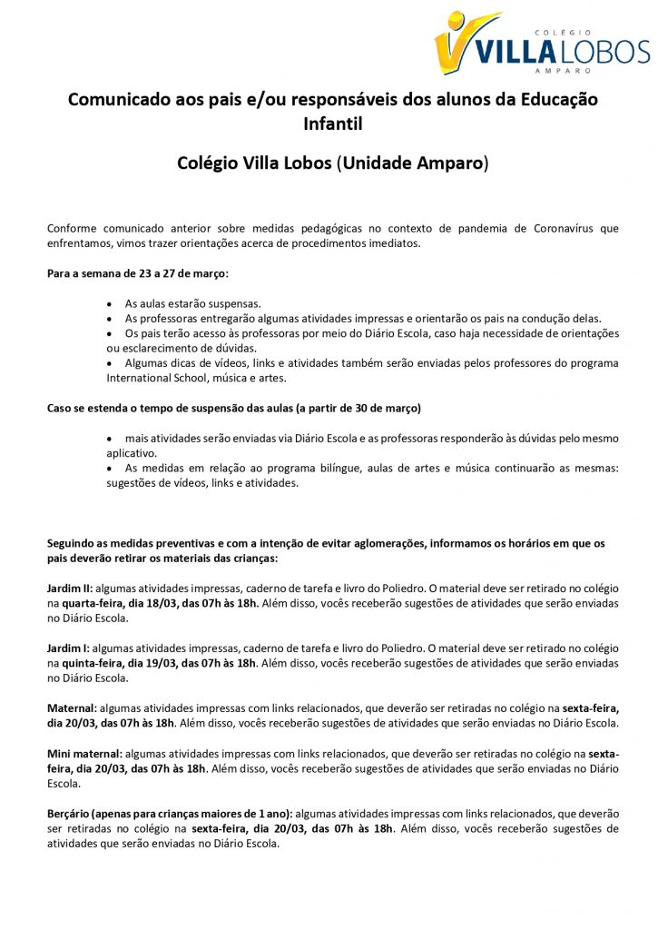 COMUNICADO AMPARO - Comunicado aos Pais - Educação Infantil 3