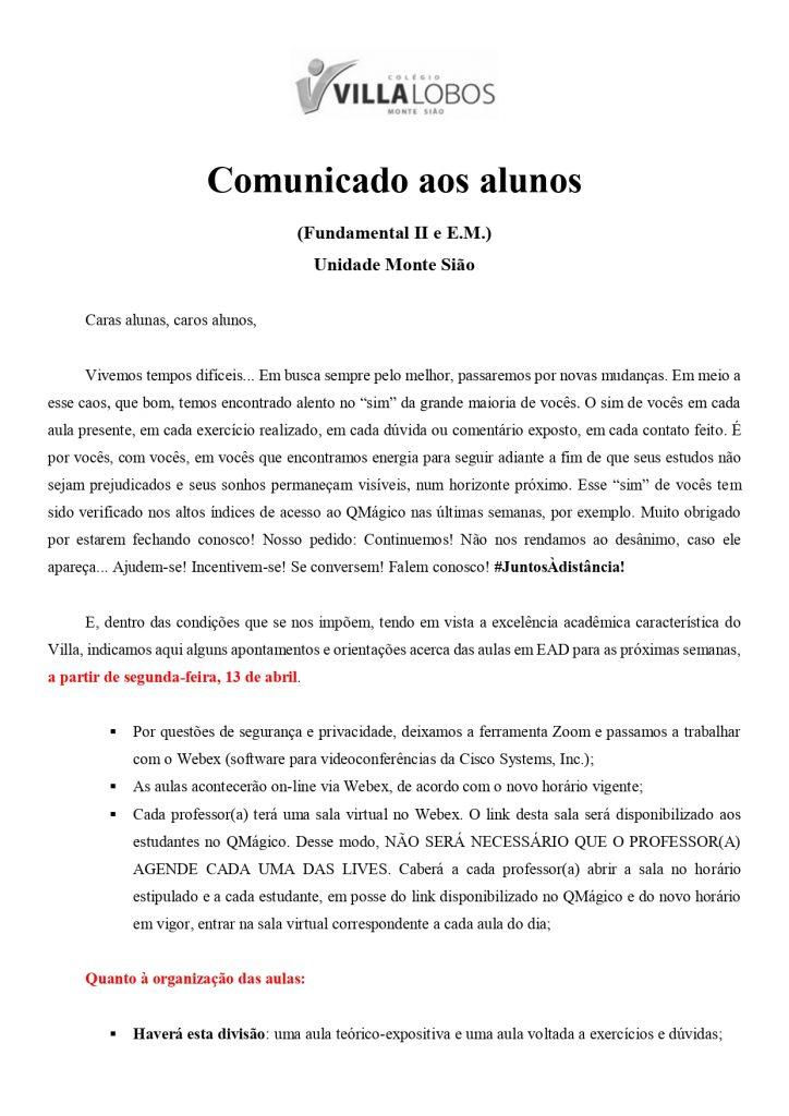UNIDADE MONTE SIÃO – AULAS AO VIVO 9
