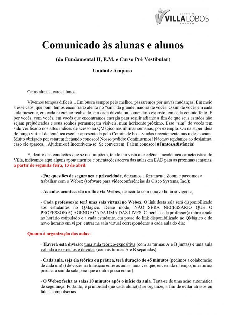 UNIDADE AMPARO - AULAS AO VIVO A PARTIR DE SEGUNDA-FEIRA (13/04) 9