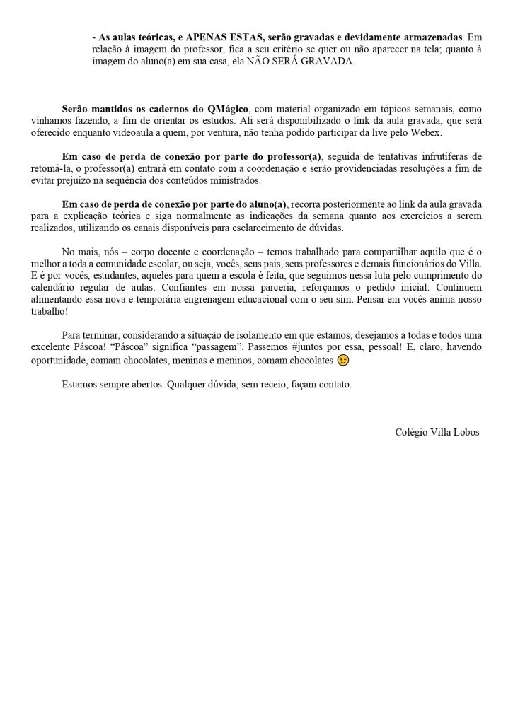 UNIDADE AMPARO - AULAS AO VIVO A PARTIR DE SEGUNDA-FEIRA (13/04) 2