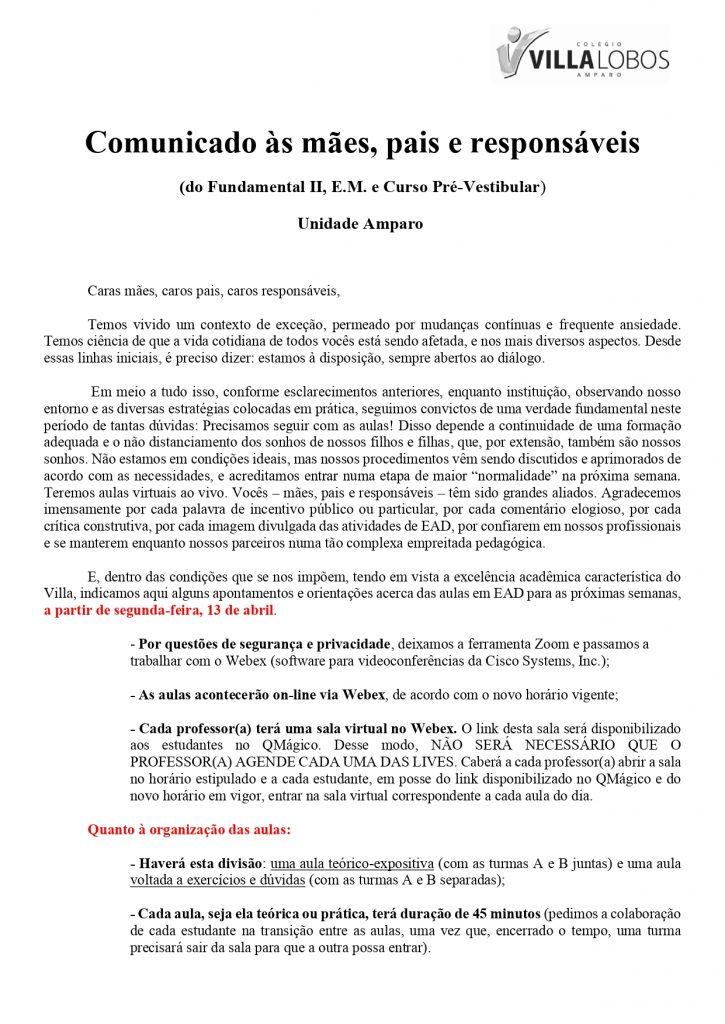 UNIDADE AMPARO - AULAS AO VIVO A PARTIR DE SEGUNDA-FEIRA (13/04) 11
