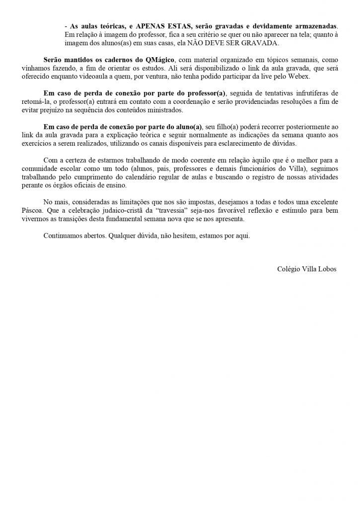 UNIDADE AMPARO - AULAS AO VIVO A PARTIR DE SEGUNDA-FEIRA (13/04) 12