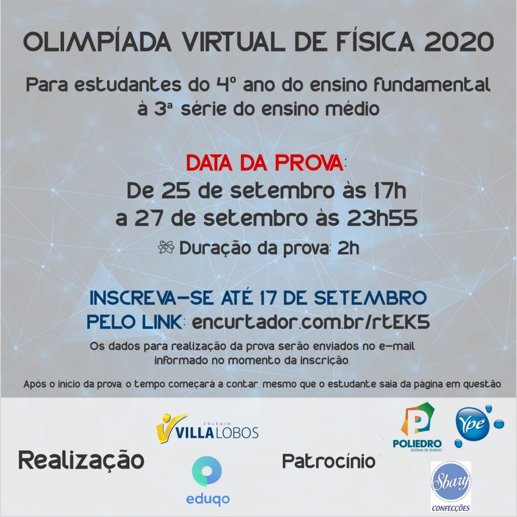 Inscrições para a Olimpíada Virtual de Física 2020 1