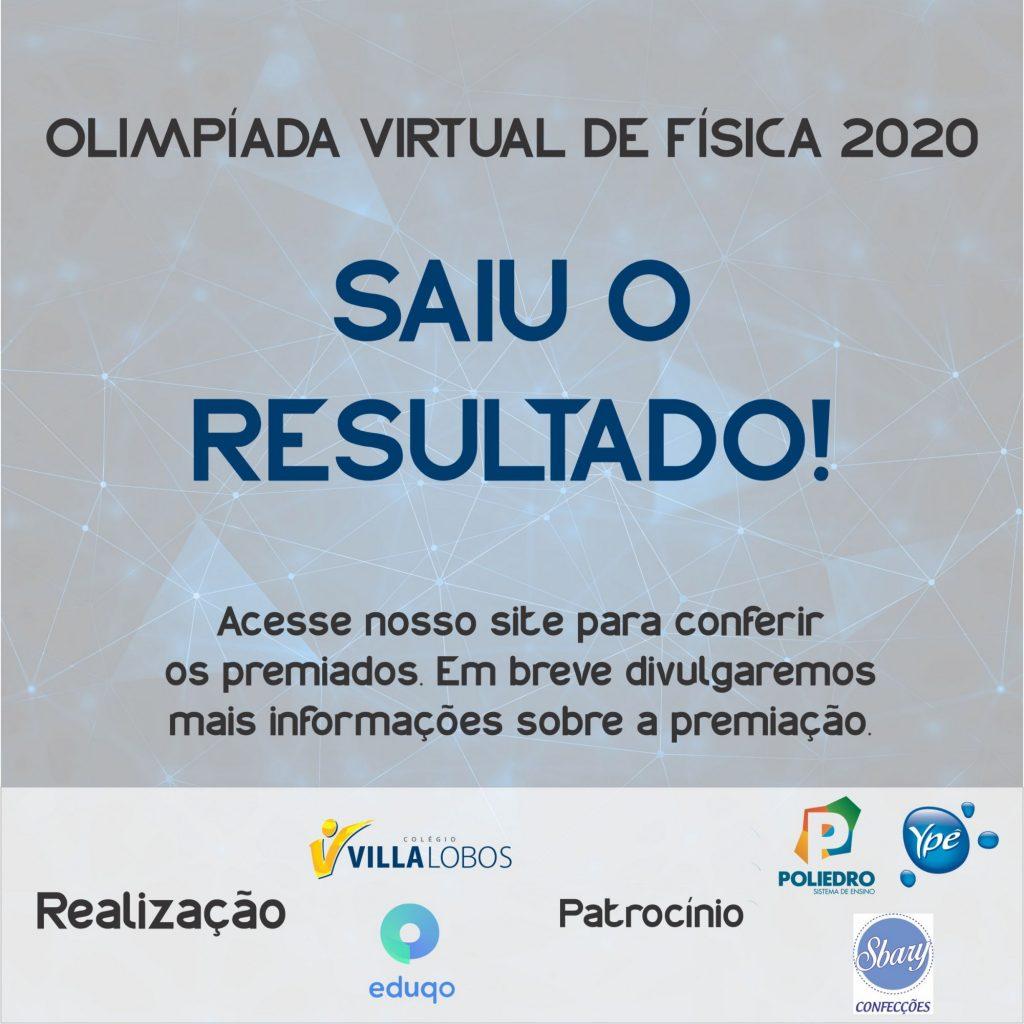 Resultado da Olimpíada Virtual de Física 2020 1